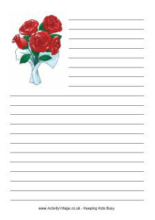 Valentine's Day writing paper - roses