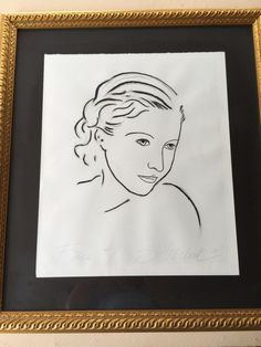 "Woman's Face ""Face #1"" Original Sketch, Framed, Signed by Artist, 24"" x 20"""