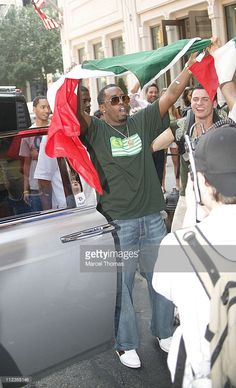 Sean 'Diddy' Combs during <a gi-track='captionPersonalityLinkClicked' href=/galleries/search?phrase=Sean+Combs&family=editorial&specificpeople=178993 ng-click='$event.stopPropagation()'>Sean Combs</a>, Adriana Lima, and Jay-Z Celebrate Italy's World Cup Win Outside Cipriani's Restaurant - July 9, 2006 at Soho in New York City, New York, United States.