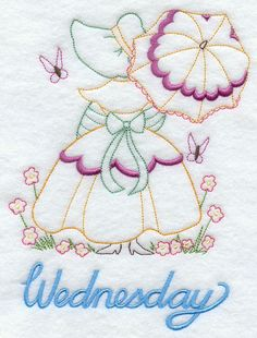 Machine Embroidery Designs at Embroidery Library! - Umbrella Girl on Wednesday Vintage Embroidery, Embroidery Art, Embroidery Applique, Cross Stitch Embroidery, Cross Stitch Patterns, Quilt Patterns, Embroidery Stitches Tutorial, Embroidery Transfers, Machine Embroidery Patterns