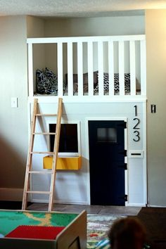 Wanting to spruce up your children's room? Consider buying or building bunk beds. Bunk beds create more space in a room, create childhood memories for your kids, and provide an opportunity for crea. Creative Kids Rooms, Indoor Playhouse, Playhouse Bed, Playhouse Ideas, Wooden Playhouse, Inside Playhouse, Bunk Bed Tent, Deco Kids, Kids Bunk Beds