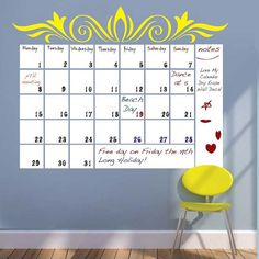 24x41 Dry Erase Wall Decal Calendar   Adhesive Backed White Board Wall  Calendar   Daily Monthly Planner Vinyl   D003 | Pinterest | Dry Erase Wall,  ...