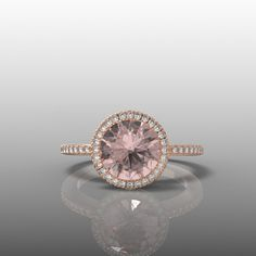 14k Rose Gold Morganite Engagement  Halo Ring 8mm by GlamourDesign, $850.00