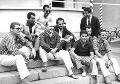Roberto Rossellini, Gillo Pontecorvo, Ermanno Olmi, François Truffaut, Carlo Lizzani, Francesco Maselli nel 1959 a Venezia