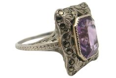 White Gold Amethyst & Marcasite Ring