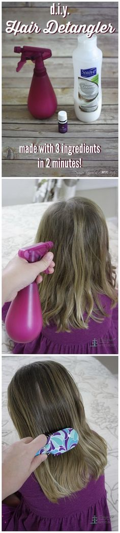 Homemade Hair Detangler. It is so annoying when our long hair gets tangled when we wash it during bath time! So we started using detangler. But the store-bought one is so expensive. Now, good news for you! You can make some of your own with some common ingredients. Get the recipe and tutorial here.