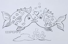 How to draw How to Draw Valentines Fish - Animal Drawings - Ocean Animal Drawings - Seasonal Drawings - Valentines Day Drawings - Drawing for kids
