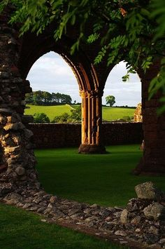 Ancient Arches - New Abbey, Scotland- Been here, wanna go back again! This is the sweetheart abbey.