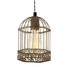 Lustra in stil romantic Louise Rustic Chandelier, Rustic Lighting, Bar Lighting, Chandelier Lighting, Modern Lighting, Cage Light Fixture, Diy Light Fixtures, Light Fittings, Bird Houses Diy