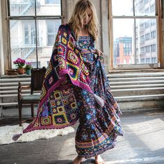 Love the granny square blanket with corner tassels - the dress is lovely too and available on aliexpress - women dress summer 2017 long maxi dresses floral print cotton sexy robe backless boho hippie chic vestidos brand clothing