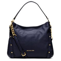 #fashionicon #michaelkors Want this. Michael Kors Leigh Stud Large Navy Shoulder Bags.