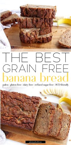 The BEST grain free banana bread! This banana bread is gluten free, paleo, refined sugar free, dairy free AND Specific Carbohydrate Diet friendly! It's full of real ingredients like coconut flour… Dairy Free Banana Bread, Flours Banana Bread, Almond Bread, Korn, Paleo Postre, Grain Free Dog Food, Grain Free Bread, Specific Carbohydrate Diet, Sugar Free Recipes