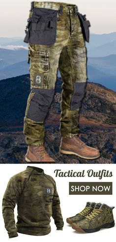 Explore more men outdoor outfits idea of pants, sweaters, shoes, hats... #camo #outdoor #outfits #ootd #tactical