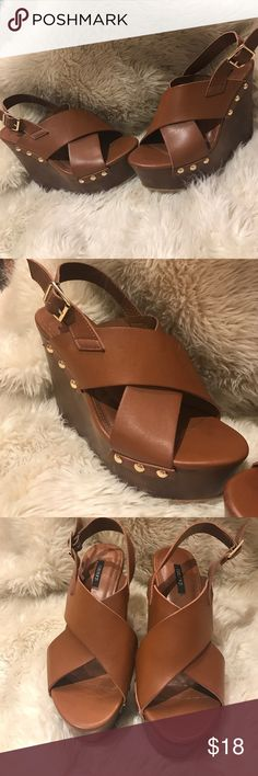 💜 Forever 21 wedges 💜 Brown nailhead wedges from Forever 21. Size 7 Forever 21 Shoes Wedges