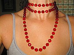 Sell one like this  52in DECO FACETED CHERRY AMBER FLAPPER BEADS NECKLACE!