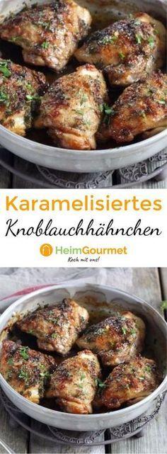 Saftig-zartes Hähnchen mit Knoblauch und braunem Zucker karamellisiert.