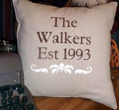 The FAMILY Stenciled Pillow by BurlapPillowsEtc on Etsy