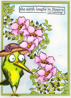 Tim Holtz Crazy Birds / Leafy branch: Designs By Ryn / flowers : StampinUp