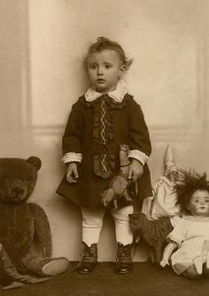 Children Teddy Bear Doll Reproduction Photo | eBay (love the love frazzled hair on the doll)
