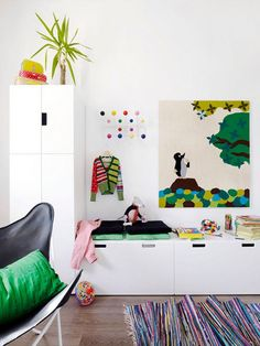 12 Great Kids Rooms: IKEA's STUVAstorage benches topped with cushions, as seen in this image from Finland's Eveningmagazine, are perfect in a kid's room.