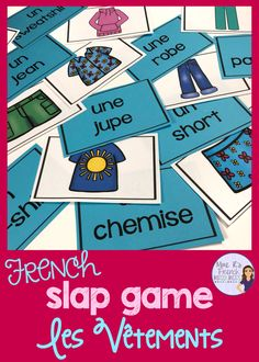 French grammar, vocabulary, and conjugation games for beginning and intermediate students of FSL and Core French classes from Mme R's French Resources French Flashcards, Flashcards For Kids, French Worksheets, French Games For Kids, Slap Game, French Education, Kids Education, Bilingual Education, French Language Learning