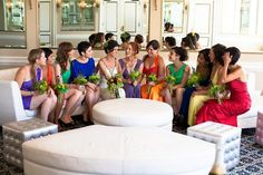 Colorful bridesmaids in this Iranian-inspired wedding.