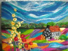 felt art felt painting felt landscape by SueForeyfibreart on Etsy, $109.00