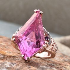 Sugar by Gay Isber...her Kite Ring - Radiant Orchid Quartz, White Topaz, Amethyst Ring in 14K RG Overlay Sterling Silver Nickel Free (Size 6.0) TGW 15.500 cts.