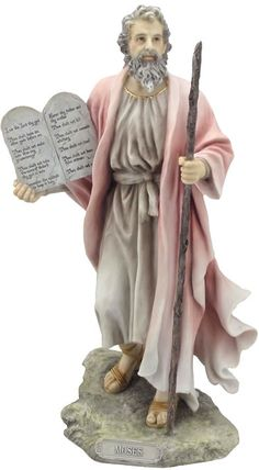 Moses Holding The 10 Commandments Religious Figurine Statue Sculpture Statuary-Home Décor-Decorations-Christian Related Gifts-Available for Sale at AllSculptures.com