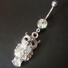 14g~3/8 Cute Owl Belly Button Navel Rings Ring Bar Body Piercing Jewelry Q04   eBay