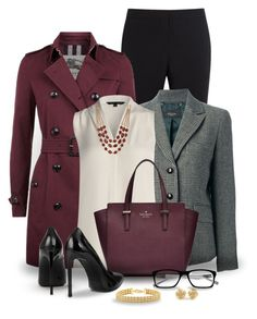 A fashion look from October 2016 featuring layered tops, purple trench coat and houndstooth jacket. Browse and shop related looks. Fall Outfits, Casual Outfits, Fashion Outfits, Womens Fashion, Business Outfits, Business Attire, Office Fashion, Work Fashion, Burberry Trenchcoat