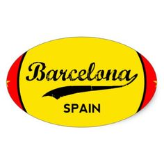 Barcelona Spain circle Oval Sticker - craft supplies diy custom design  supply special