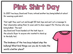 Free Activities for Pink Shirt Day Anti Bullying Activities, Kindness Activities, Free Activities, Bucket Filler Activities, Education And Literacy, Career Education, Pink Day, Kindergarten Activities, Preschool