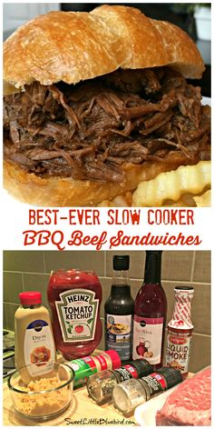 Lower Excess Fat Rooster Recipes That Basically Prime Best-Ever Slow Cooker Bbq Beef Sandwiches This Awesome Recipe Takes Minutes To Throw Together And Makes The Best Darn Bbq Beef Sandwiches Family Favorite Grill Sandwich, Bbq Beef Sandwiches, Slow Cooker Bbq Beef, Crock Pot Slow Cooker, Bbq Beef Crockpot, Beef Meals, Crockpot Potluck, Slower Cooker Recipes, Crock Pot Beef