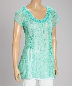 Look what I found on #zulily! Aqua Floral Lace Linen-Blend Cap-Sleeve Top by Pretty Angel #zulilyfinds