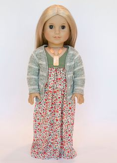 American Girl Doll cardigan sweater - olive green and cream stripes on Etsy, $14.00