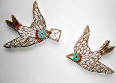 Love Letter Birds - mosaic art pieces by Rah Rivers