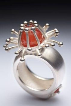 Laurie Dansereau ring    Ronni Rittenhouse via gaba luna onto SILVER JEWELRY WITH AMBER, CORAL, TURQUOISE AND OTHER STONES
