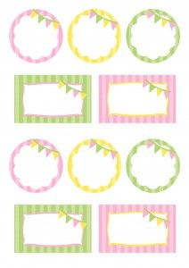 Bunting Party Printables free (pink, green & yellow)