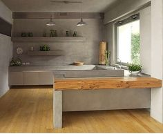 Kitchen_  minimalistic_ Big window on one side_ cement countertops and walls as well? Maybe for the scullery.