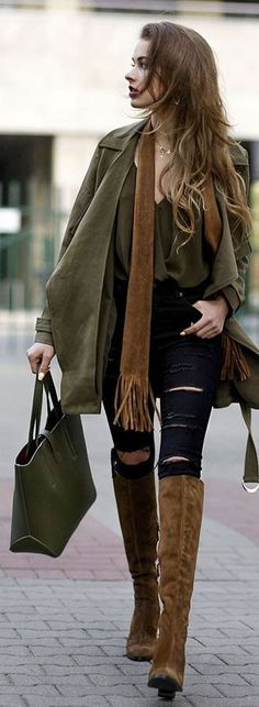 Black Pants &Top, Army Green Jacket & Camel Suede Boots / Urban Chic.