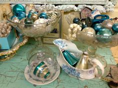 Vintage Turquoise and Silver Mercury Glass Christmas Ornaments  Lots of vintage and shabby chic Christmas decorations in the store, come see!  $1 and up  Country Garden Antiques 147 Parkhouse  Dallas, TX 75207  Read more: http://dallas.ebayclassifieds.com/home-decor/dallas/vintage-turquoise-and-silver-mercury-glass-christmas-ornaments/?ad=30655243#ixzz2lLhA3oHA