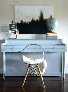 Gray Painted Piano by Two Thirty~Five Designs