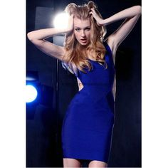 Herve Leger Blue Halter Sexy Bandage Dress H222LDB