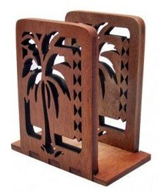 Hawaiian Wood Napkin Holder Palm Tree with Tribal Print by Buns of Maui. $31.48. Hawaiian Home Accessories will add a warm tropical touch to your home or office!. Wood Napkin Holder. Measures 4 x 4.5 x 2.25 inches. Fits standard napkins.