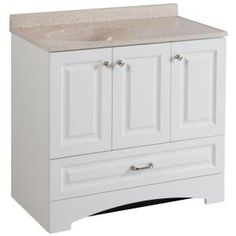 Glacier Bay, Lancaster 36 in. Vanity in White with Colorpoint Vanity Top in Maui, LC36P2MCOM-WH at The Home Depot - Mobile