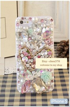 Colorful Gems Love Heart DIY Phone Case Deco Den Kit  & Free iPhone Case