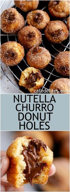 Nutella Churro Donut Holes | https://cafedelites.com