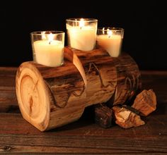 Rustic Log Candle Holder Aspen Wood Staggered by TheRusticNature Small Wood Projects, Cool Woodworking Projects, Rustic Log Furniture, Unique Furniture, Rustic Crafts, Wood Crafts, Log Candle Holders, Candle Stands, Aspen Wood