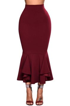 Burgundy Ruffled Midi Mermaid Skirt #midiskirt #burgundy #ruffled Bodycon Midi Skirt, Midi Skirt Outfit, Winter Skirt Outfit, Skirt Outfits, Fall Outfits, Peplum Dress, Fashion 101, Womens Fashion, New Years Eve Outfits